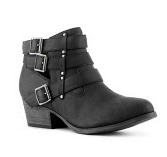 DSW Black Leather Bootie with Silver Buckles