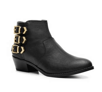 DSW Black Bootie with Gold Buckles