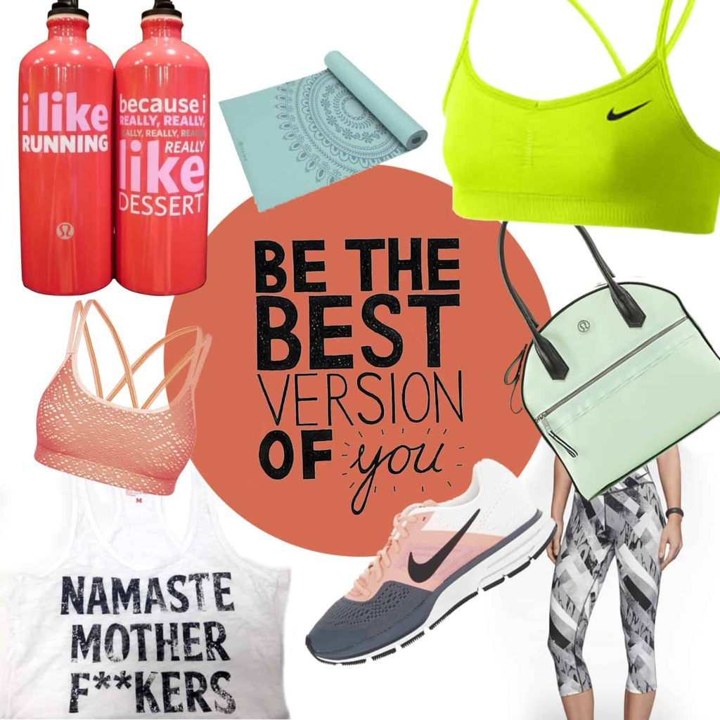 Clockwise: Lululemon water bottle, Gaiam Marrakesh Yoga Mat, Nike Bra, Lululemon Gym Bag, Nike Pants, Nike Shoes, Ruby_LA Namaste Tank, Lorna Jane Bra
