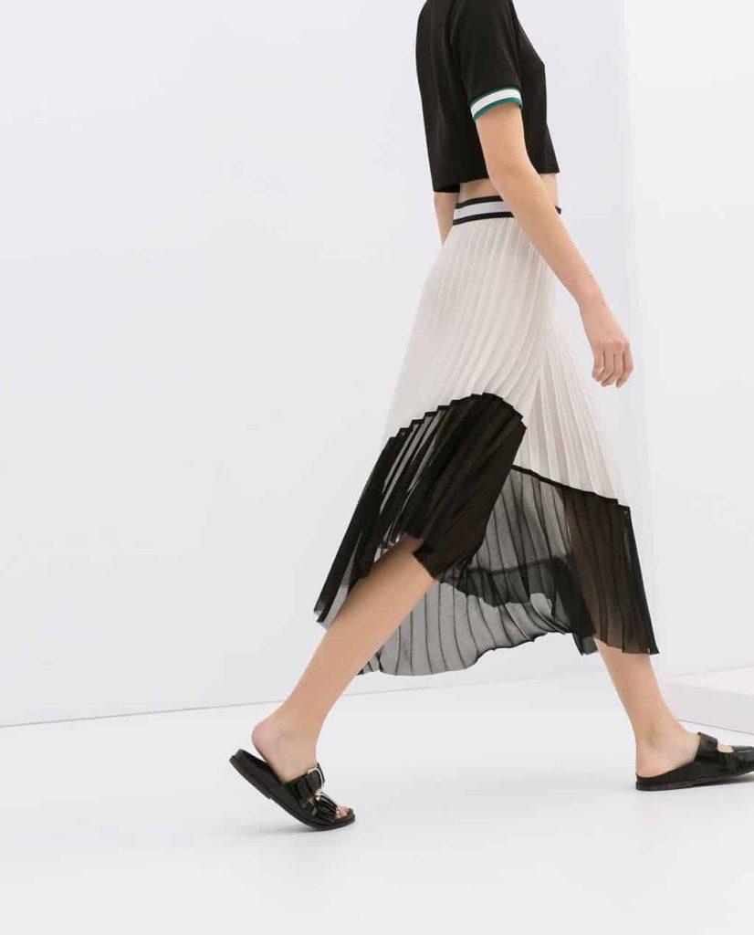 Black and White Zara Pleated Midi Skirt