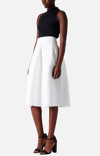 Topshop White Midi Skirt