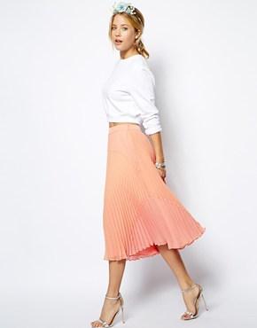 ASOS Peach Pleated Midi Skirt