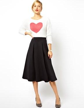 Black Pleated ASOS Midi Skirt