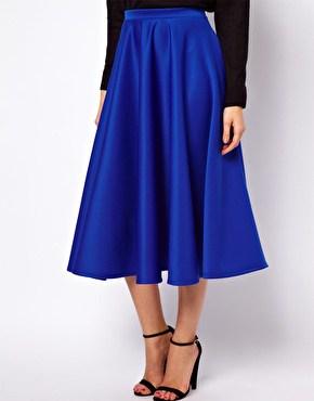 Blue ASOS Midi Skirt