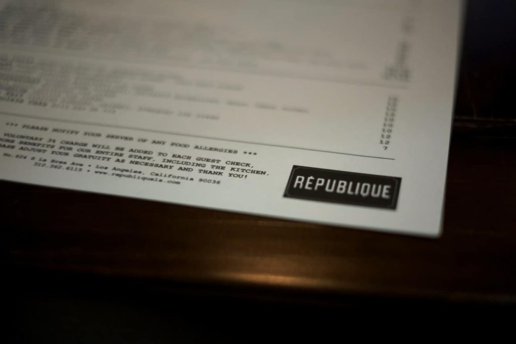 Love & Loathing LA: Republique Menu