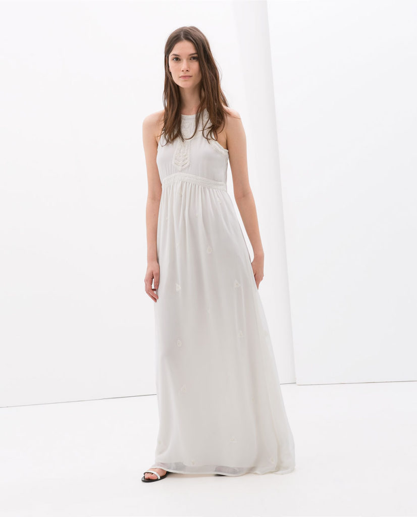 Zara White Long Embroidered Dress $59.99
