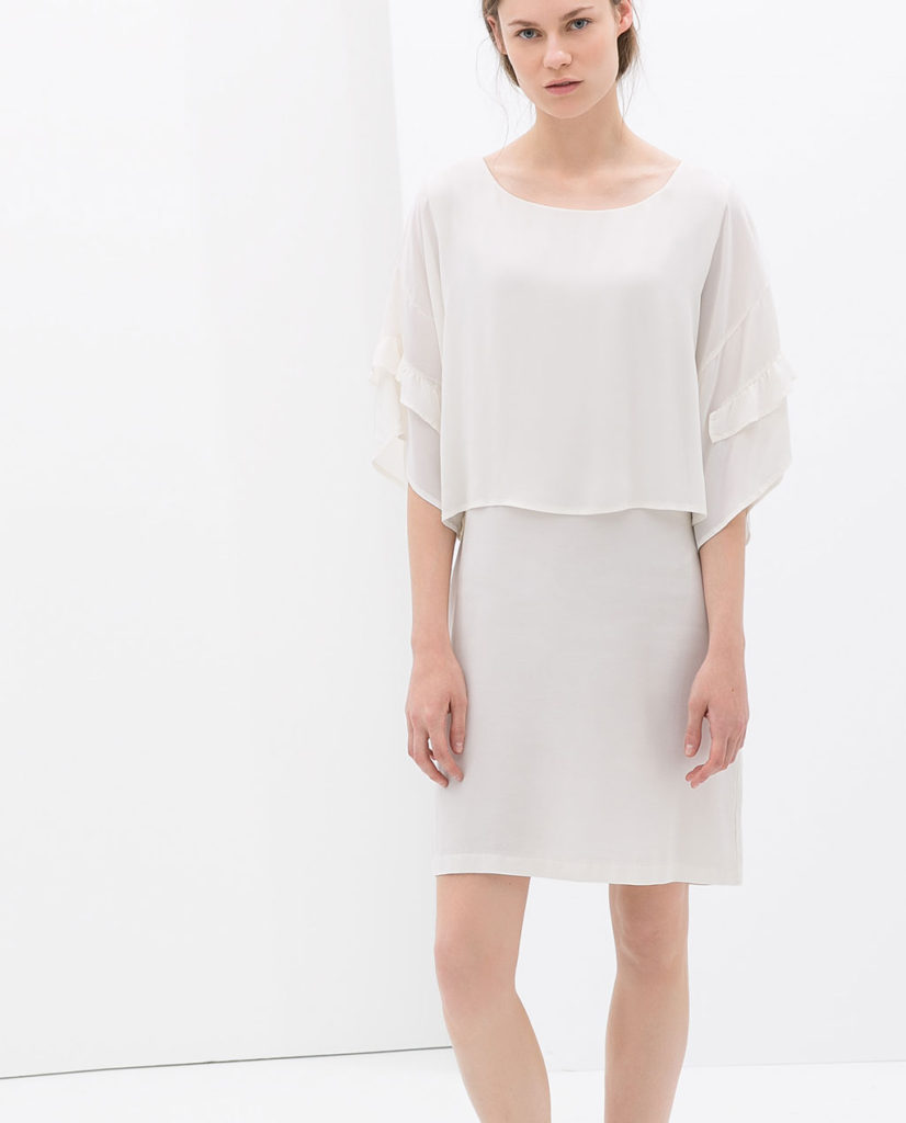Zara White Frilly Dress With Wide Sleeves $49.99