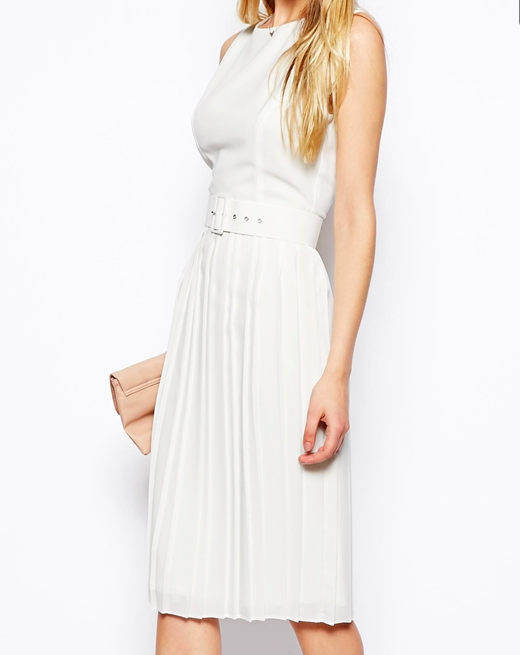 ASOS Midi Skater Dress With Pleated Skirt And Belt $91.46