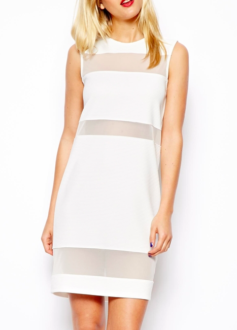 ASOS Mesh Insert Textured Shift Dress $66.69