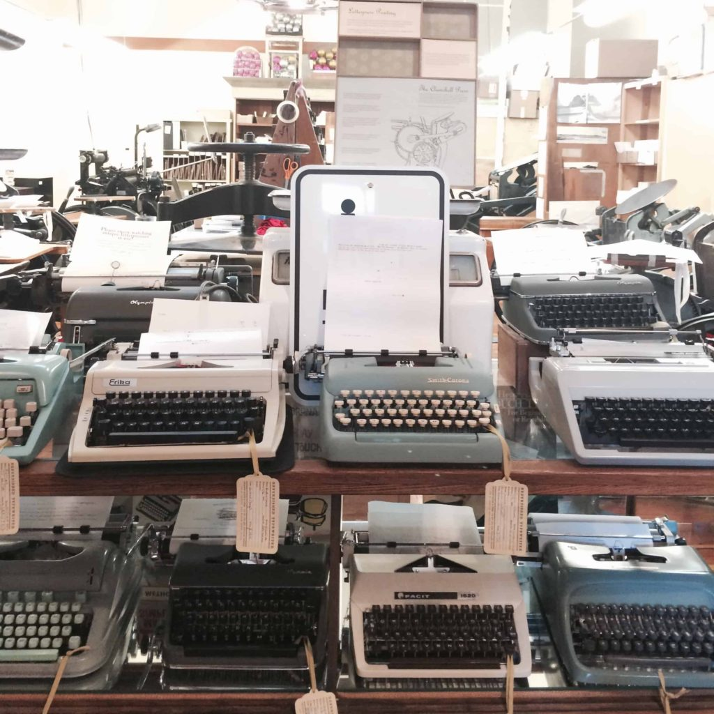 Typewriters at Letter Press Shop Portland
