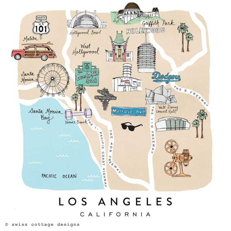 Swiss Cottage Map of Los Angeles