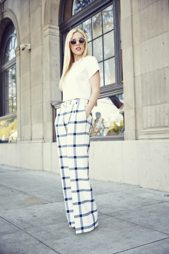 Love & Loathing LA: All White + Checked Wide Leg Pants