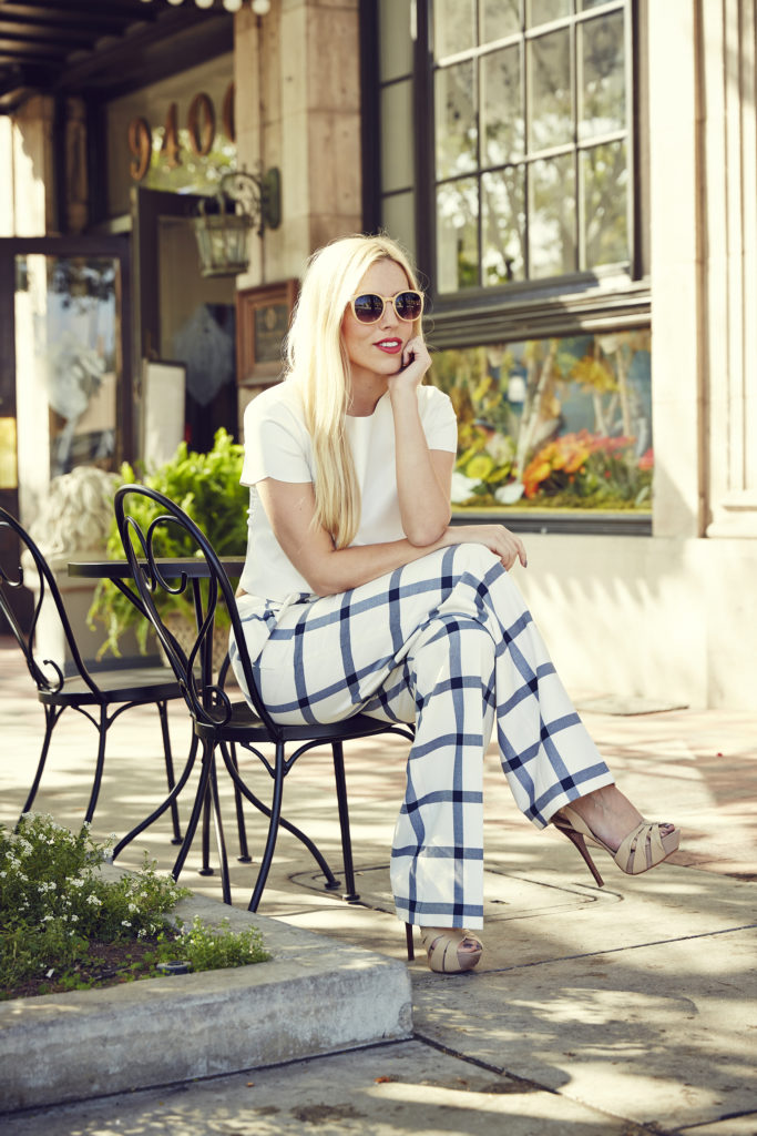 Love & Loathing LA: All White + Checked Wide Leg Pants