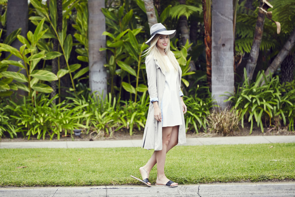 White Reformation Dress, Trench, + Wide Brim Fedora