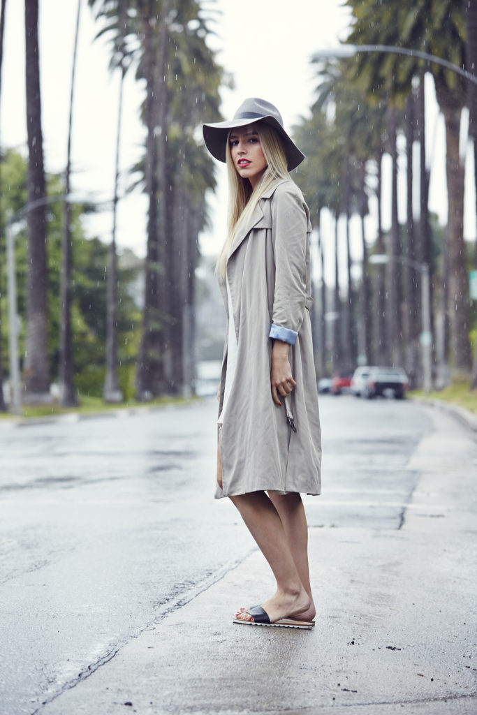 Tan Zara Trench, + Wide Brim Fedora