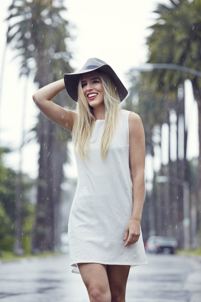 White Reformation Dress + Wide Brim Fedora