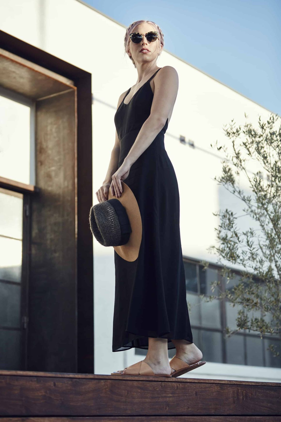 A Little Black Slip Dress + Sandals For the Fall Transition