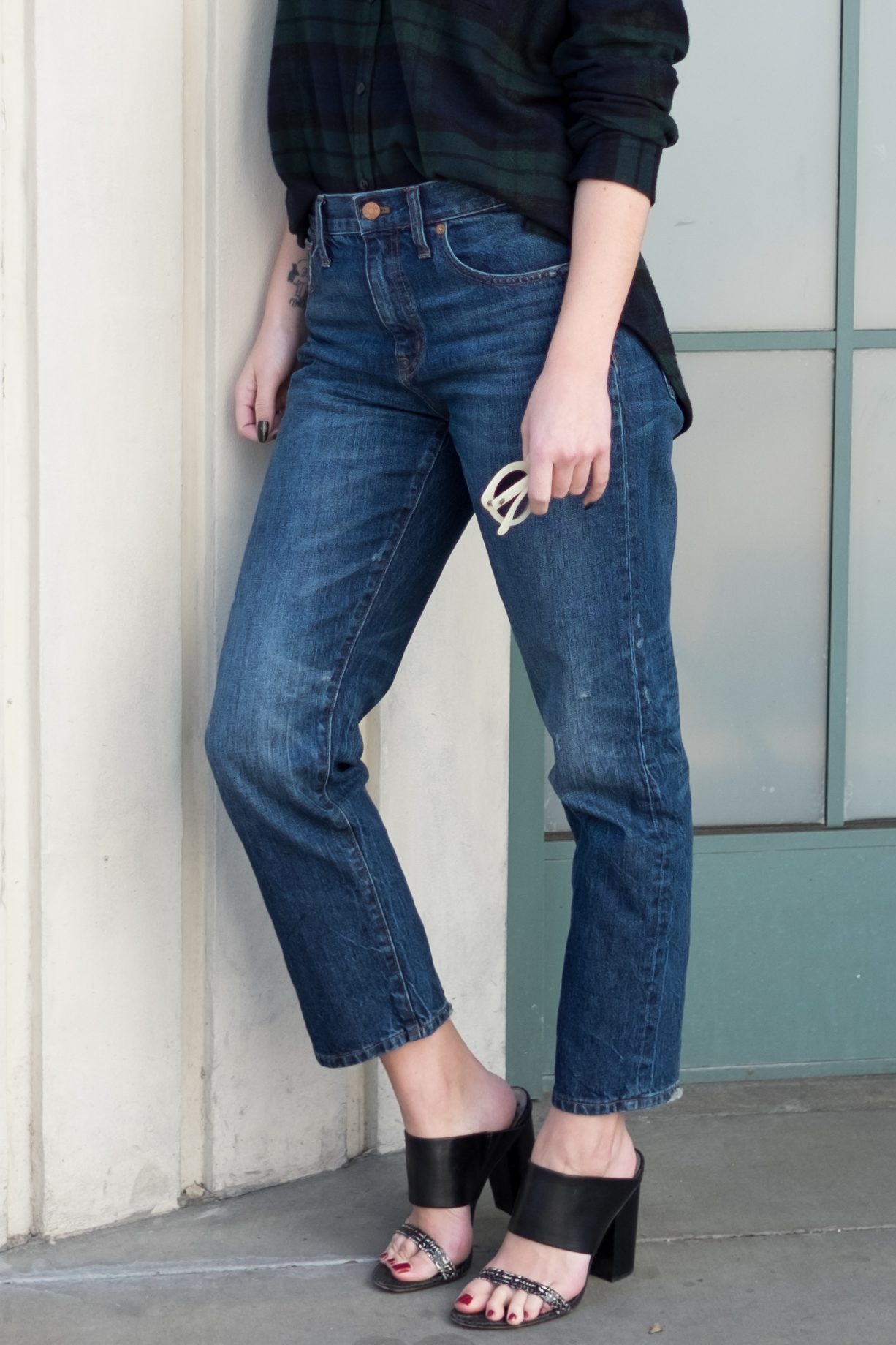 Madewell Flannel Straight Leg Crop Jeans