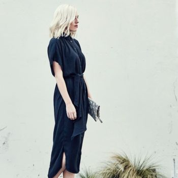 BLACK MIDI DRESS + WHITE SNEAKERS