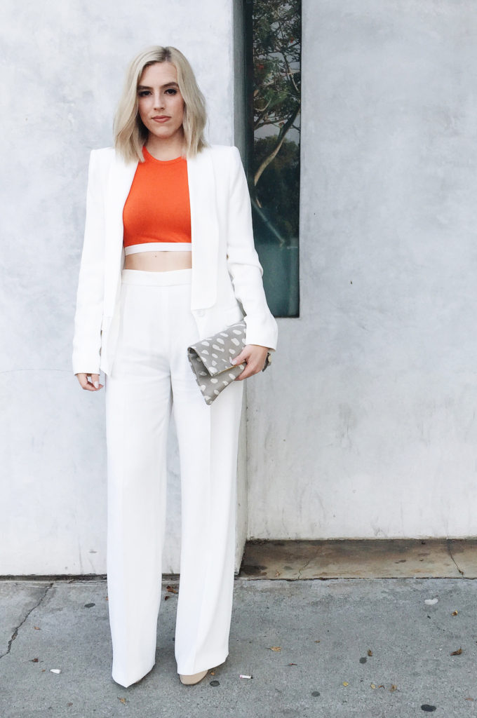 White Blazer + White Wide Leg Trousers