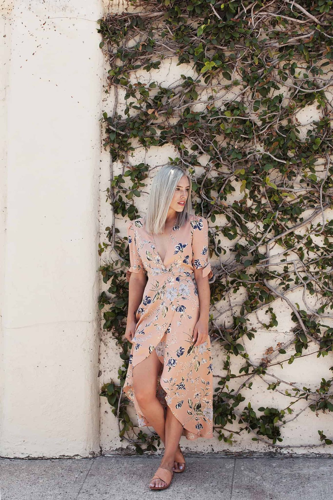 FLORAL PRINT WRAP DRESS + FLATS