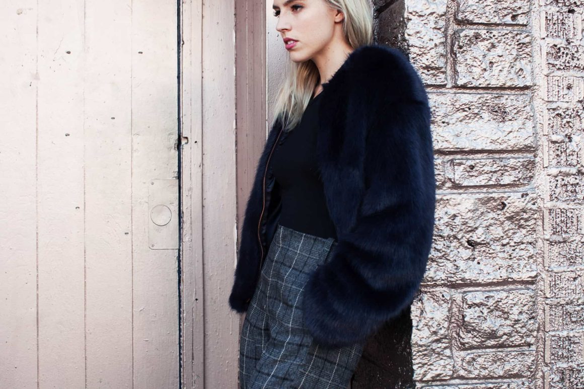 FAUX FUR + PLAID PANTS