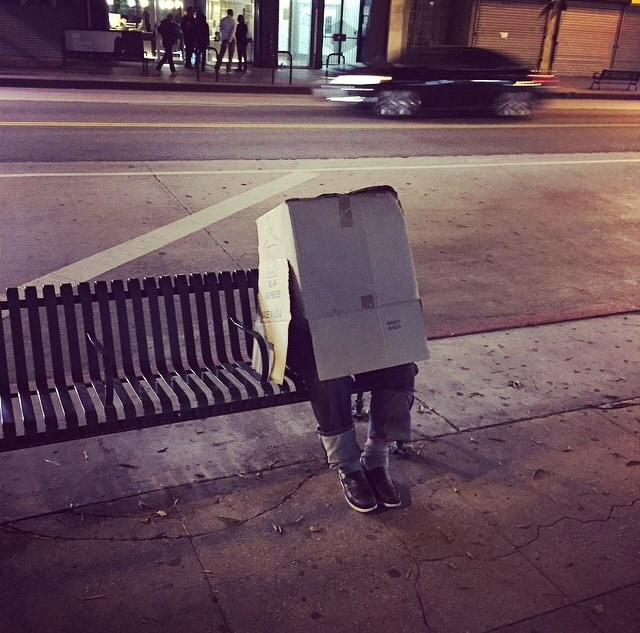 Only In LA: guy in a box