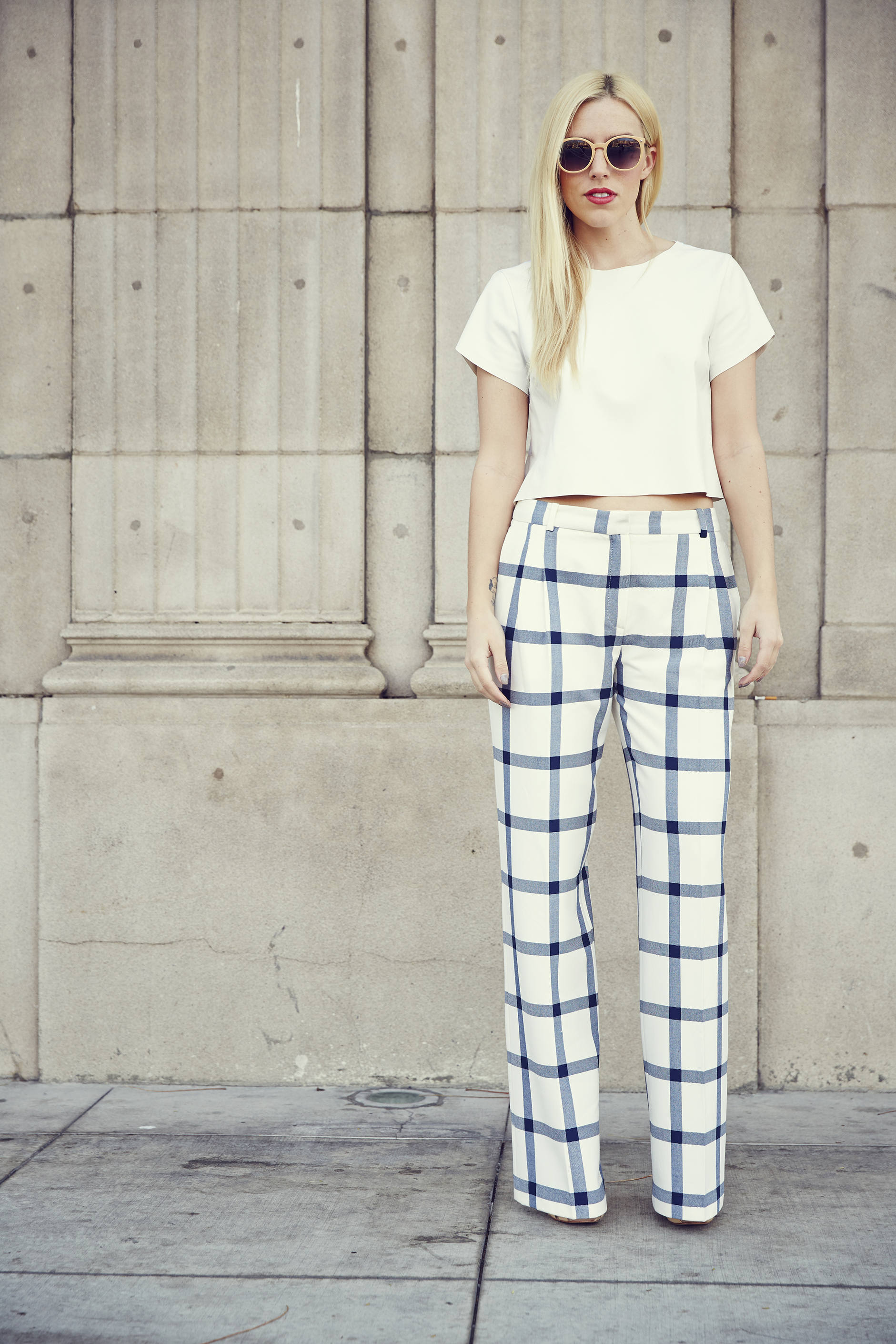 b04861c36b0bc Trends For Spring In LA | All White + Checked Wide Leg Trousers ...
