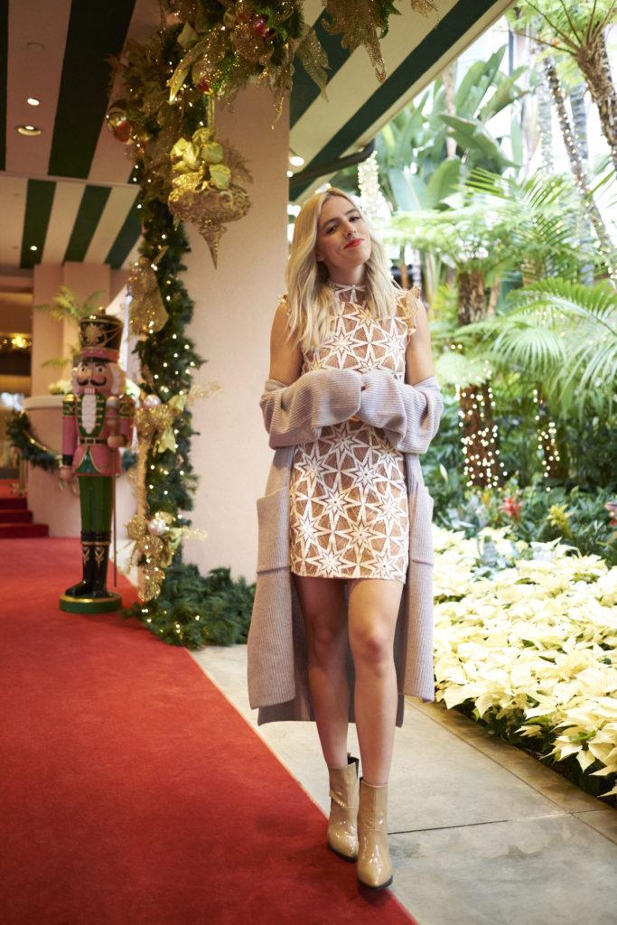 woman wearing fun holiday festive wear