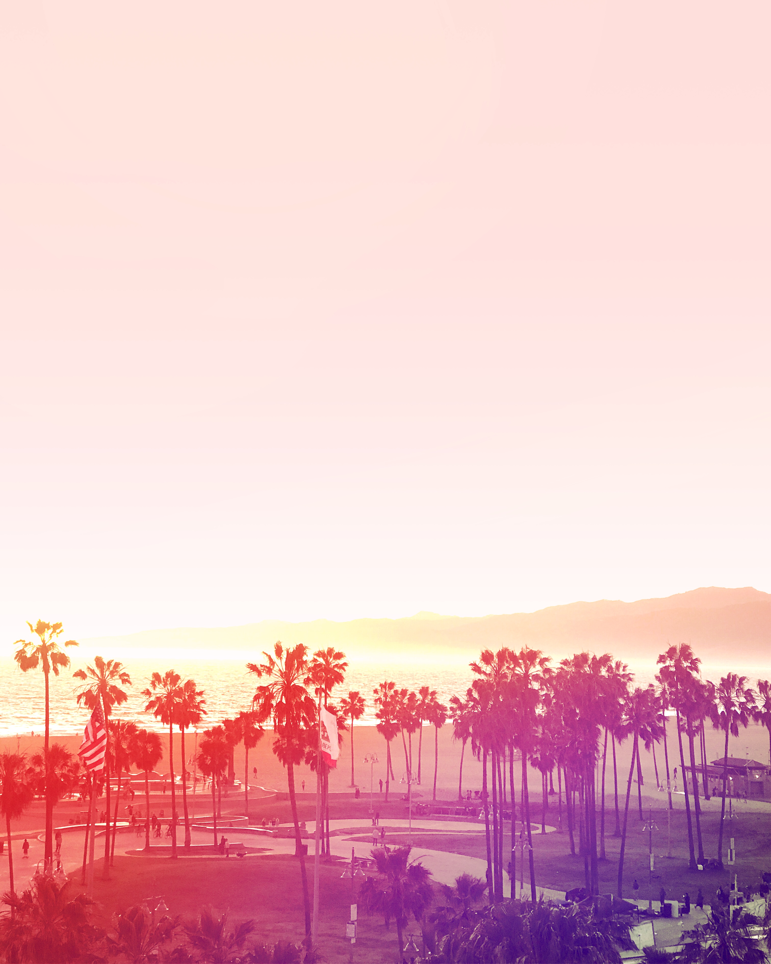 pink skies and palm trees of los angles for LA BUCKET LIST