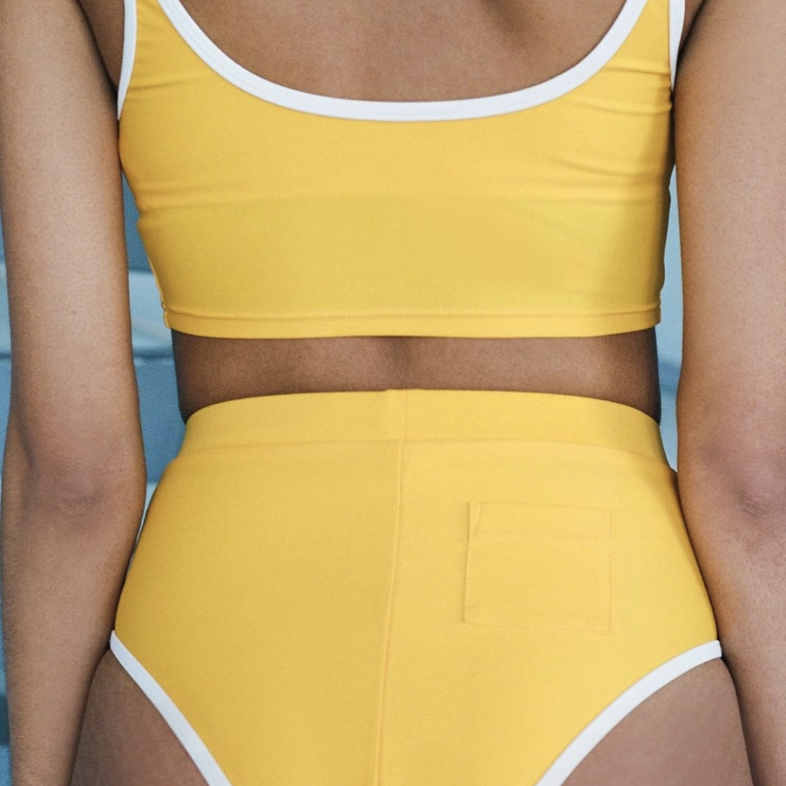 yellow swimsuit from one of the INSTAGRAM BRANDS