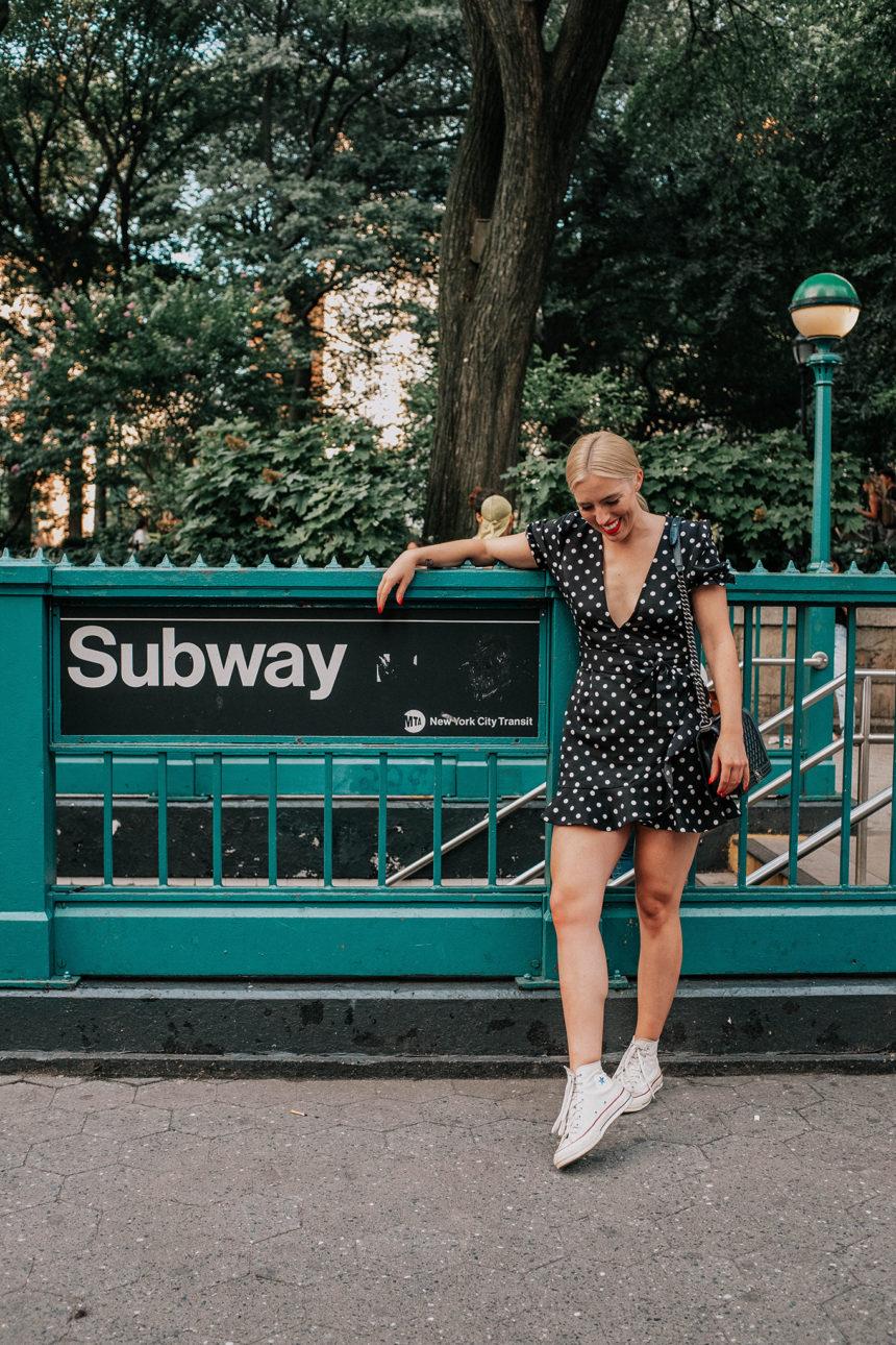 CAROLINE IN THE CITY – IN A LPDD (LITTLE POLKA DOT DRESS)