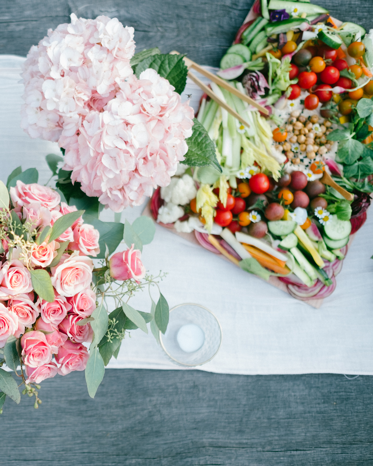 top view of flowers and food