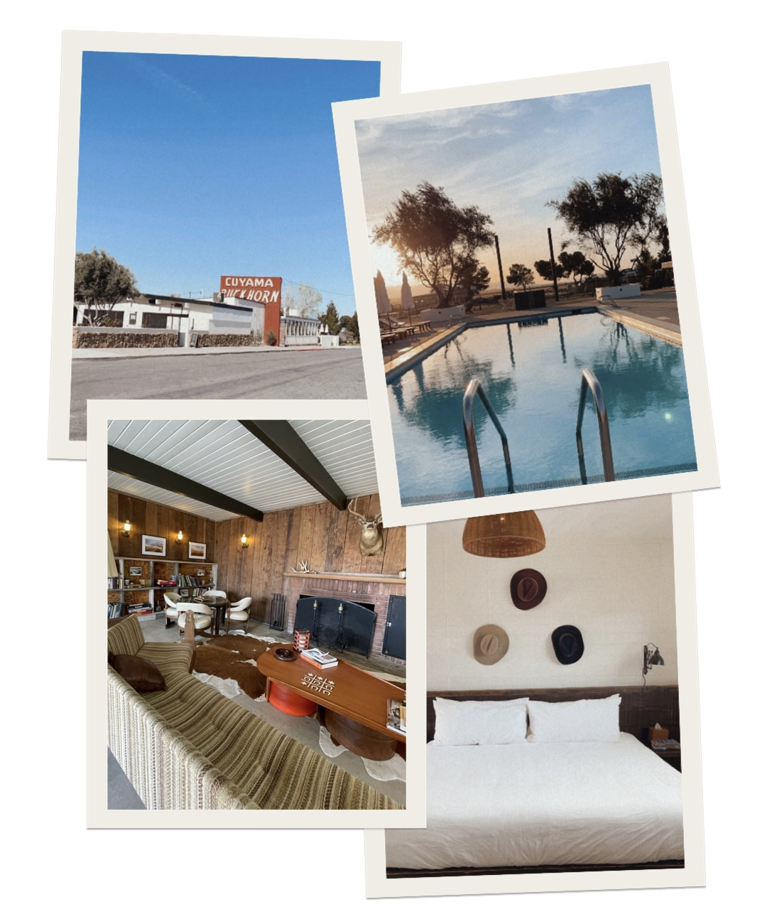 collage of images in Cuyama Buckhorn with bed, pool, and sofa