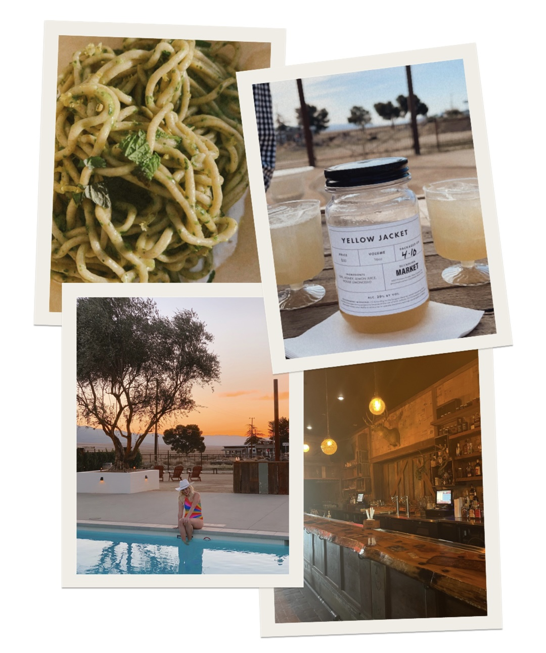 collage of images in Cuyama Buckhorn with food, swimming pool, and bar