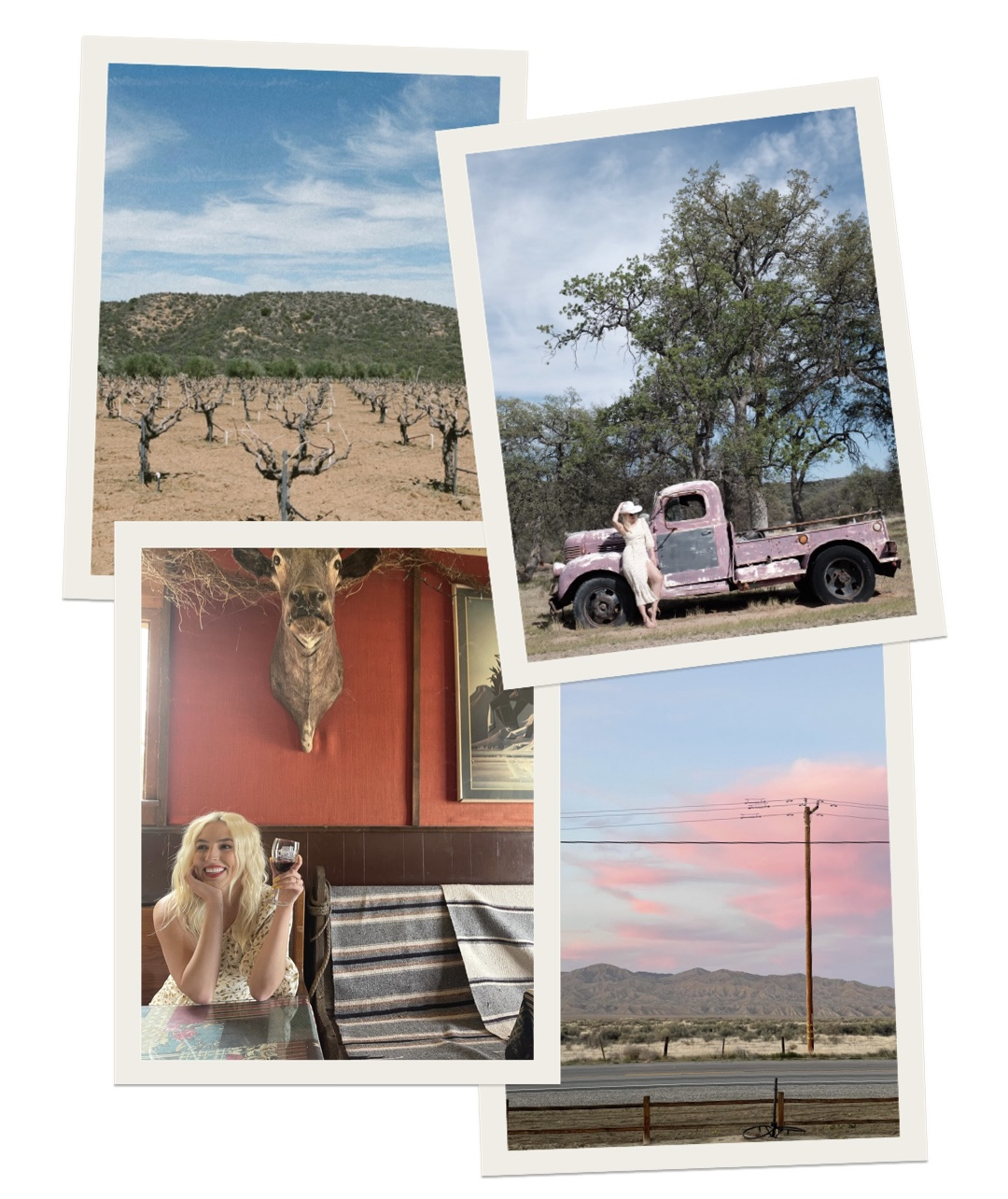 collage of images with outdoor photos and woman drinking wine