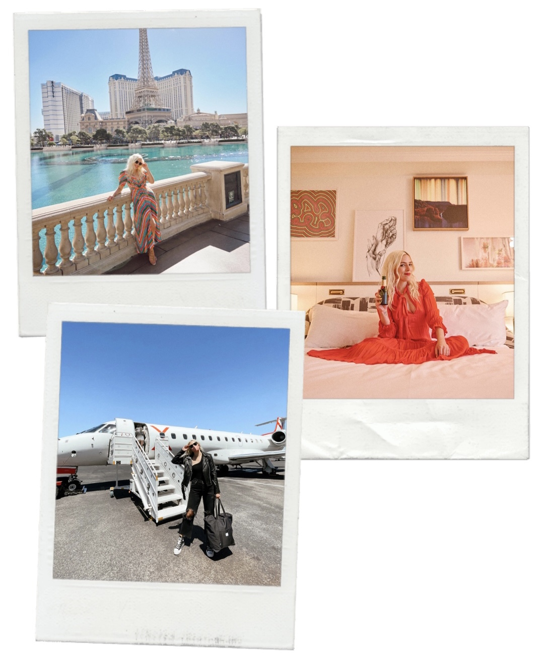 collage of images of woman in las vegas, bedroom, and boarding a airplane for travel guide to las vegas