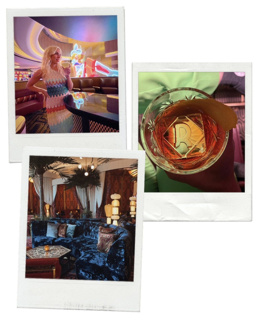 collage of images of a woman and interior of a bar