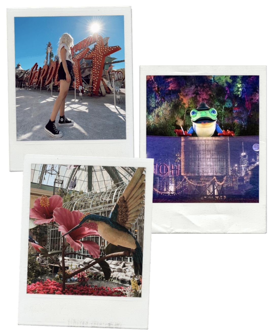 collage of images of a woman for travel guide to las vegas