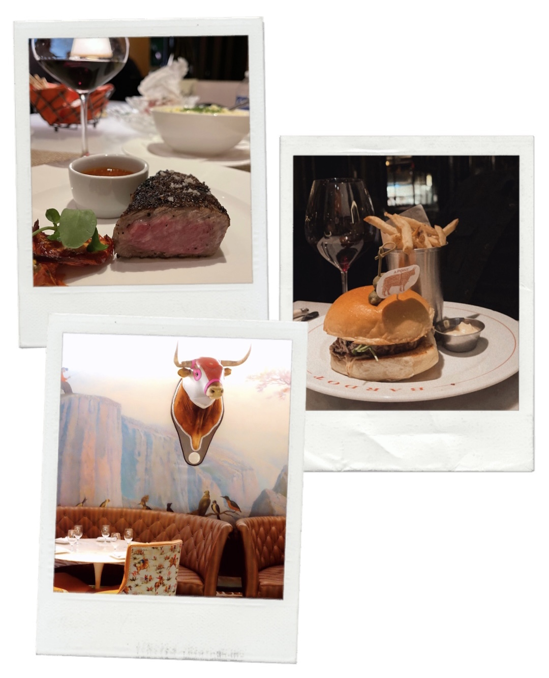 collage of images of food and restaurant for travel guide to las vegas