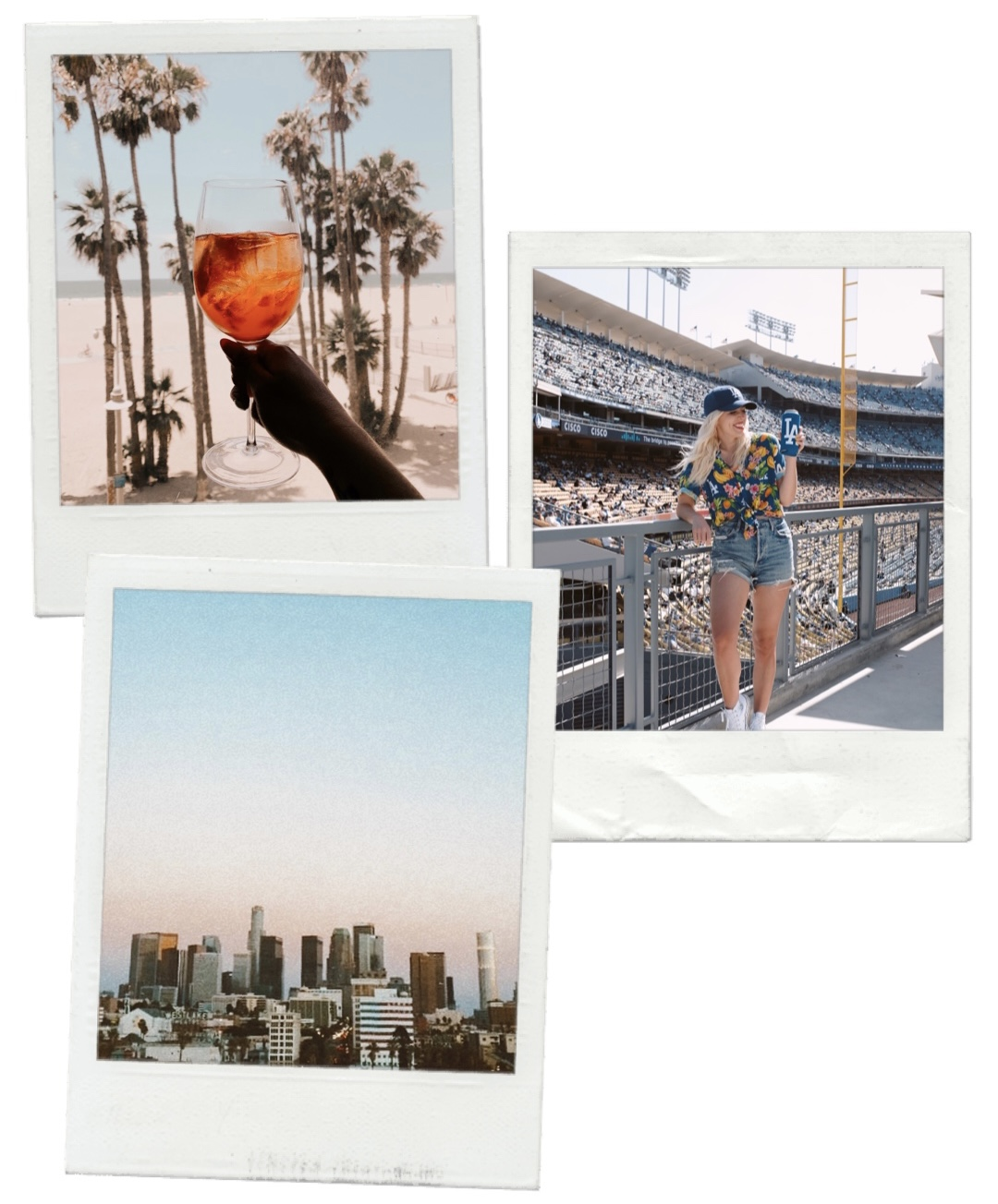 collage of images of woman holding a drink and the cityscape of LA for LIVING IN LA