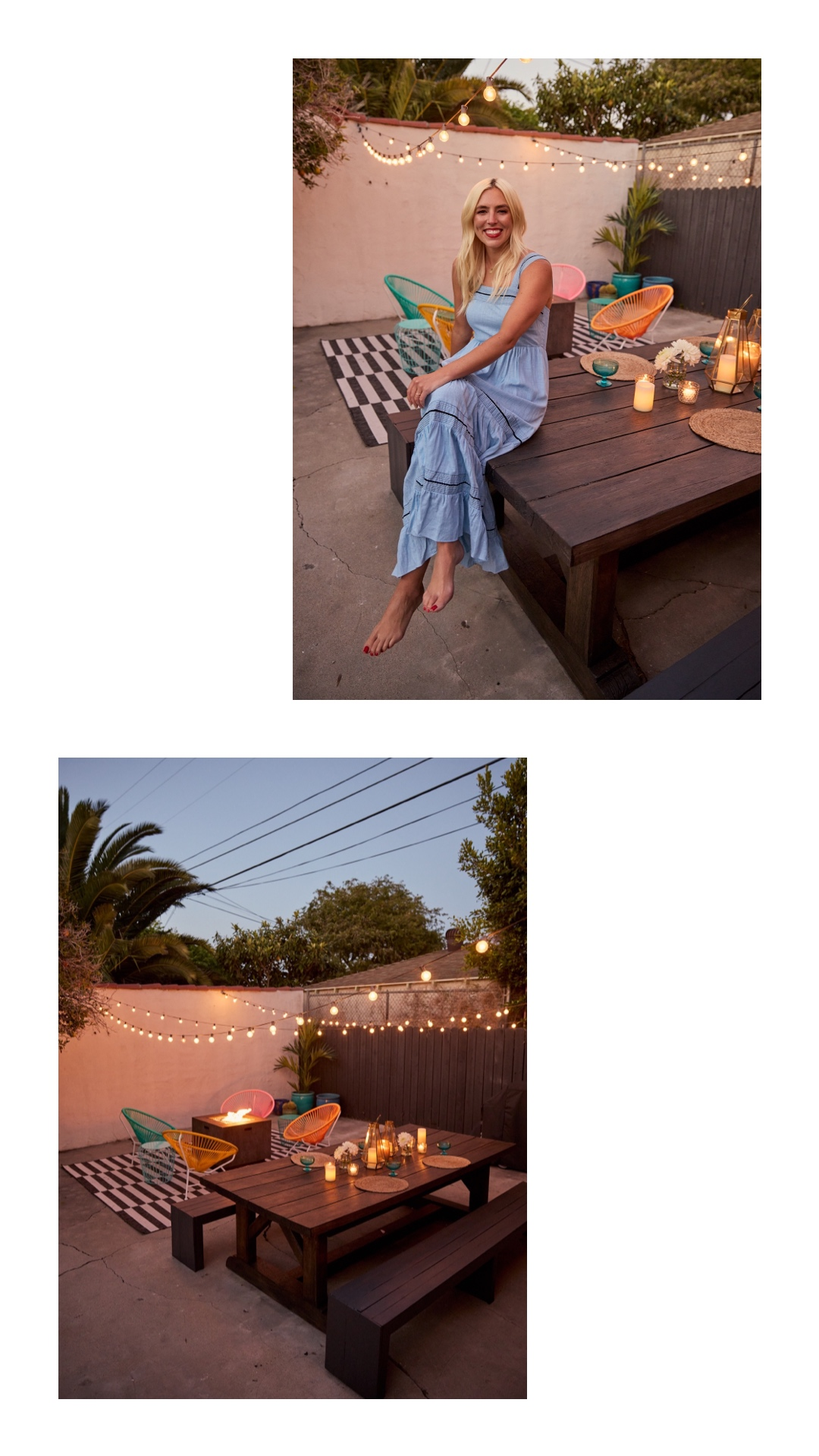 woman sitting on  table on her backyard
