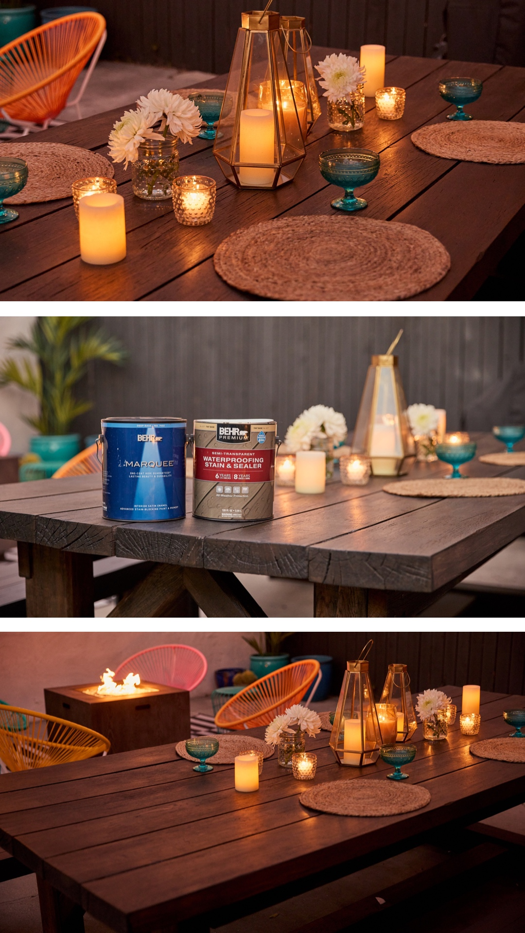 backyard wooden table with lights and other decorations