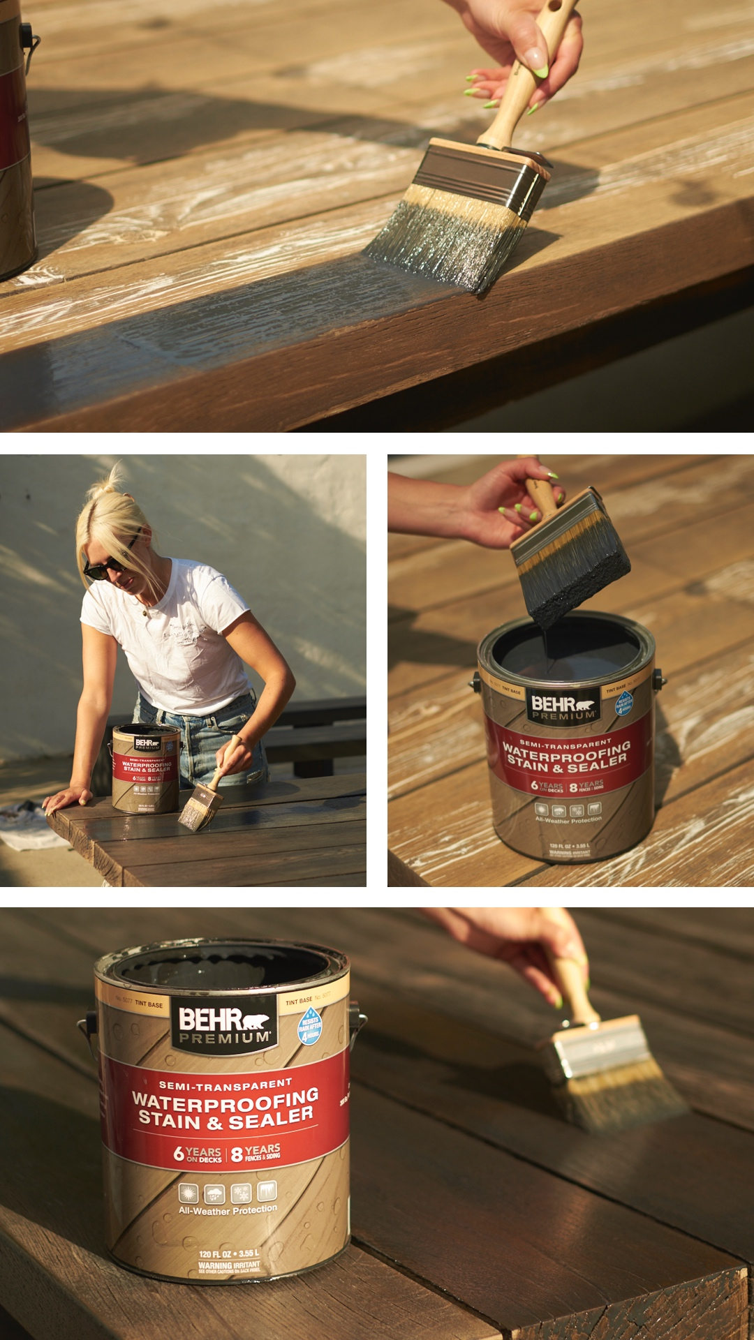 woman painting a wooden table for BACKYARD REVAMP REVEAL