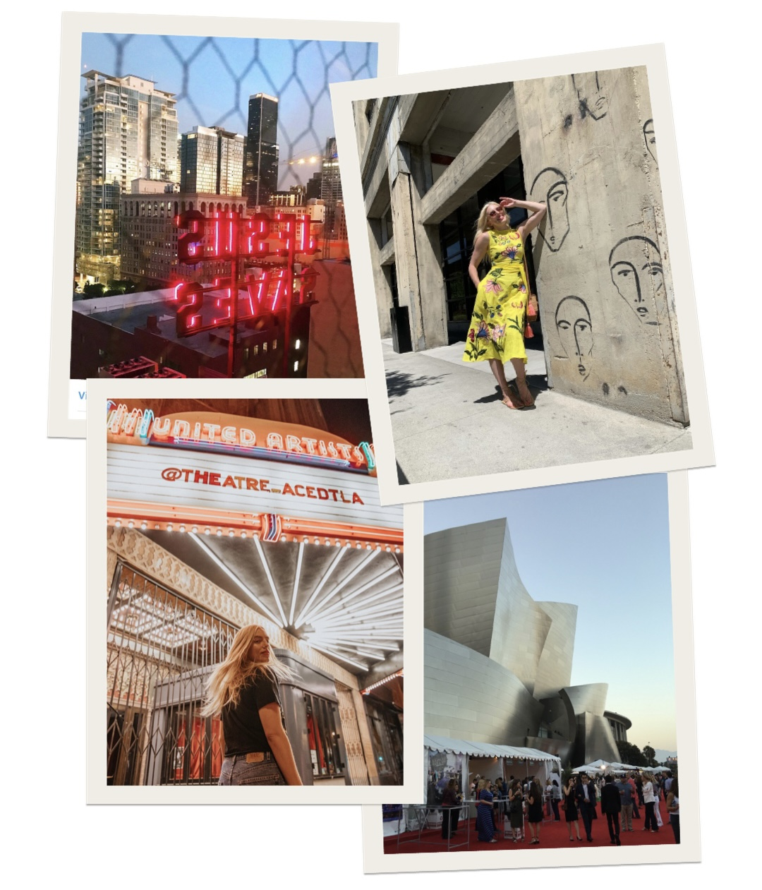 collage of woman visiting the different destinations in Downtown LA