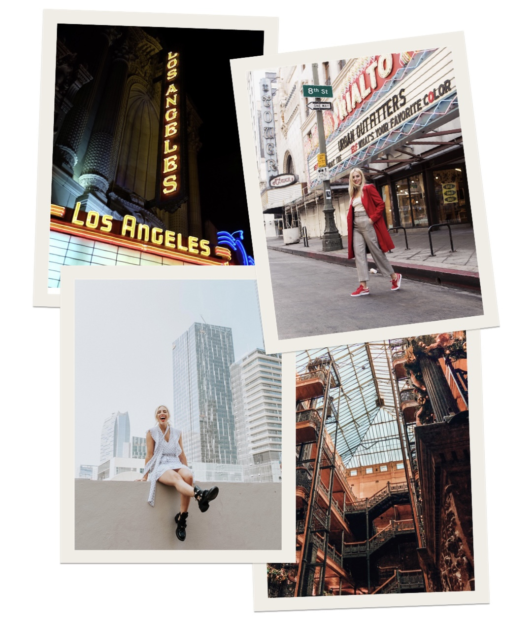 collage of images of woman in downtown LA
