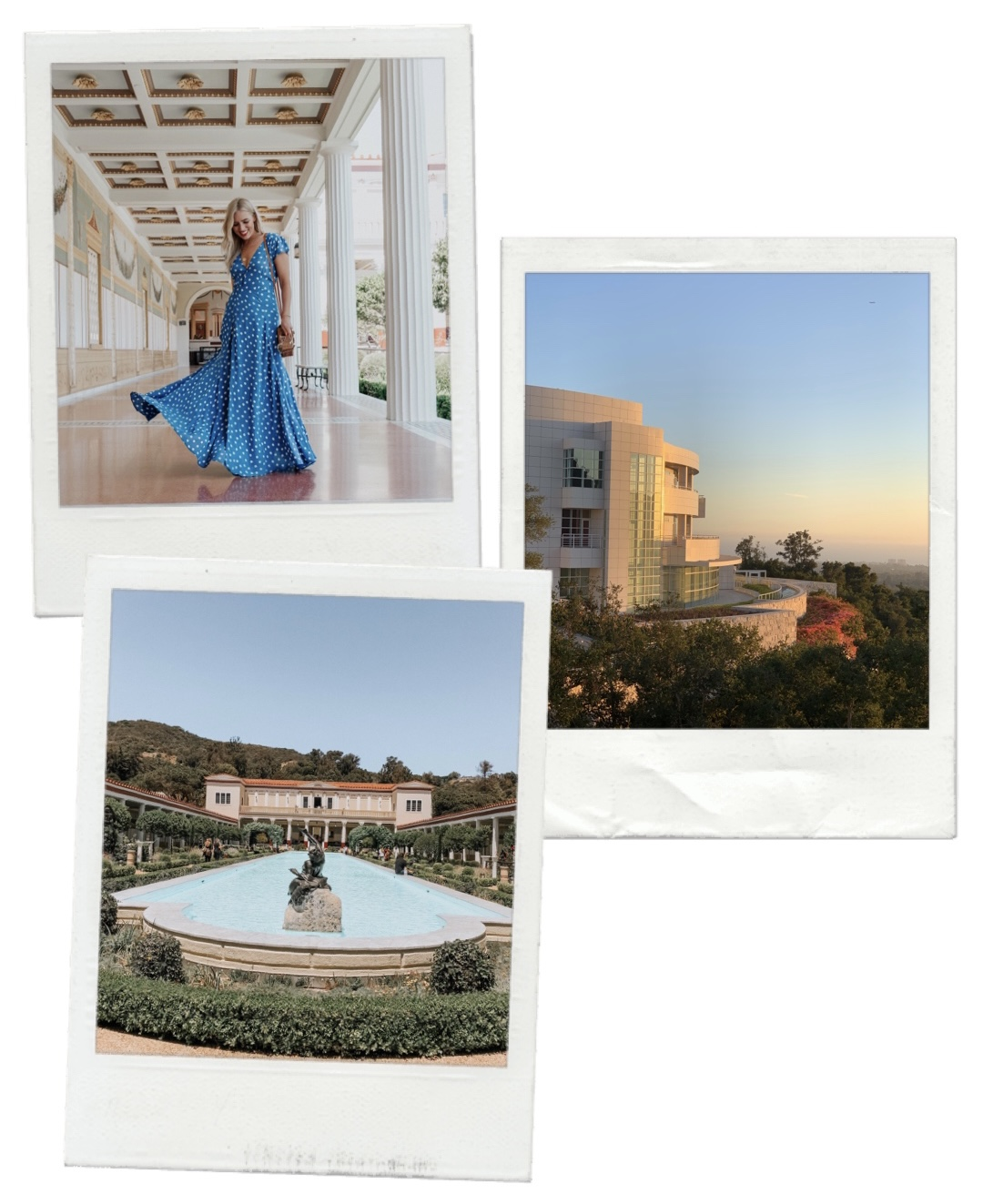 collage of photos of the GETTY VILLA AND/OR GETTY CENTER